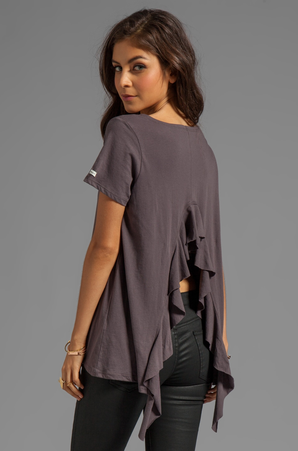 RVCA Hutton S/S Jersey Shirt With Open Back and Self Ruffle Drape in Shale