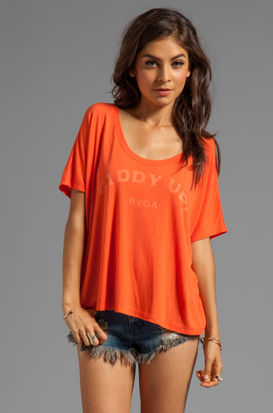 RVCA Giddy Up S/S Graphic Tee in Blood Orange