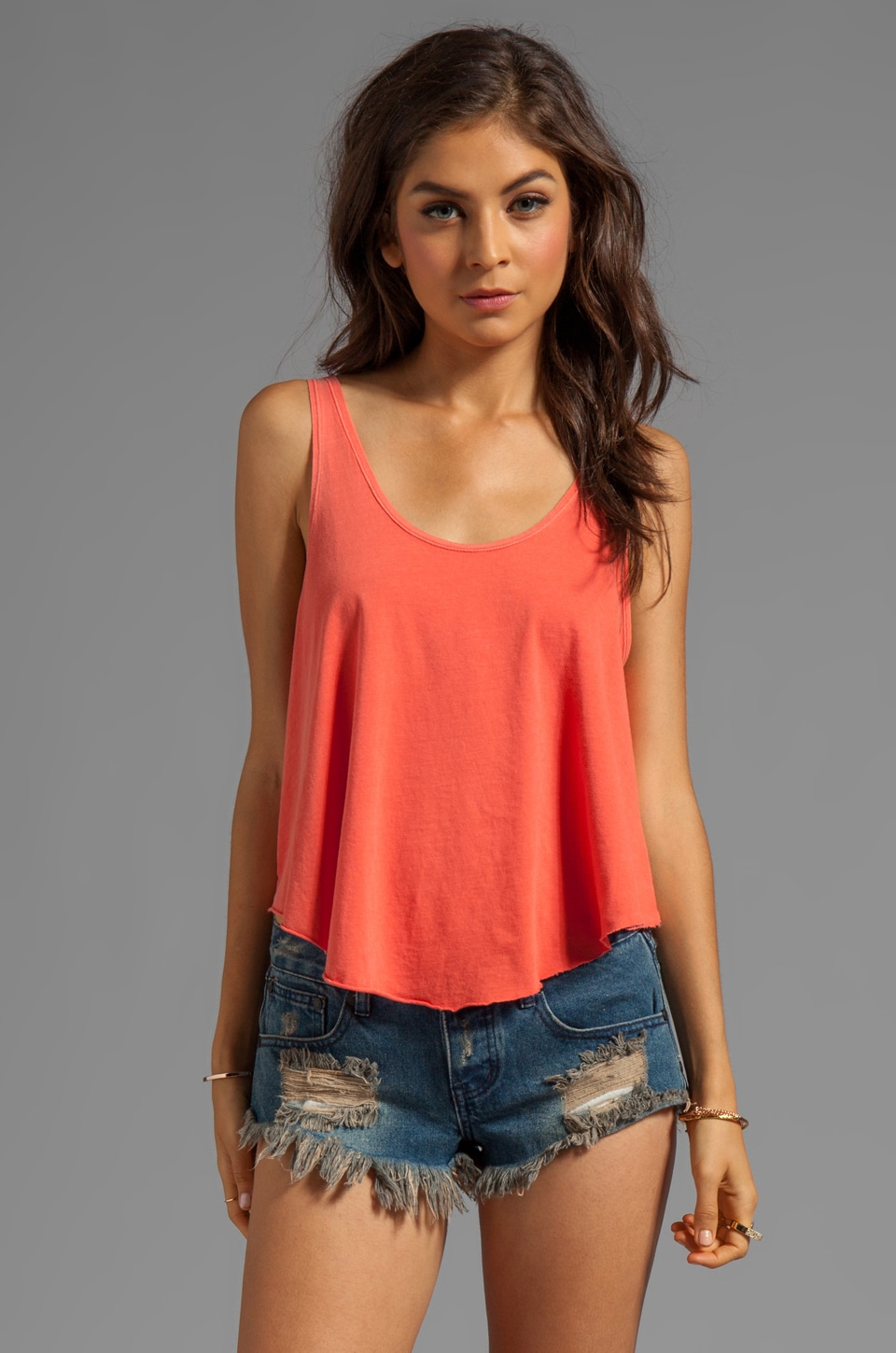RVCA Label Drape Jersey Loose Fit Tank in Blood Orange