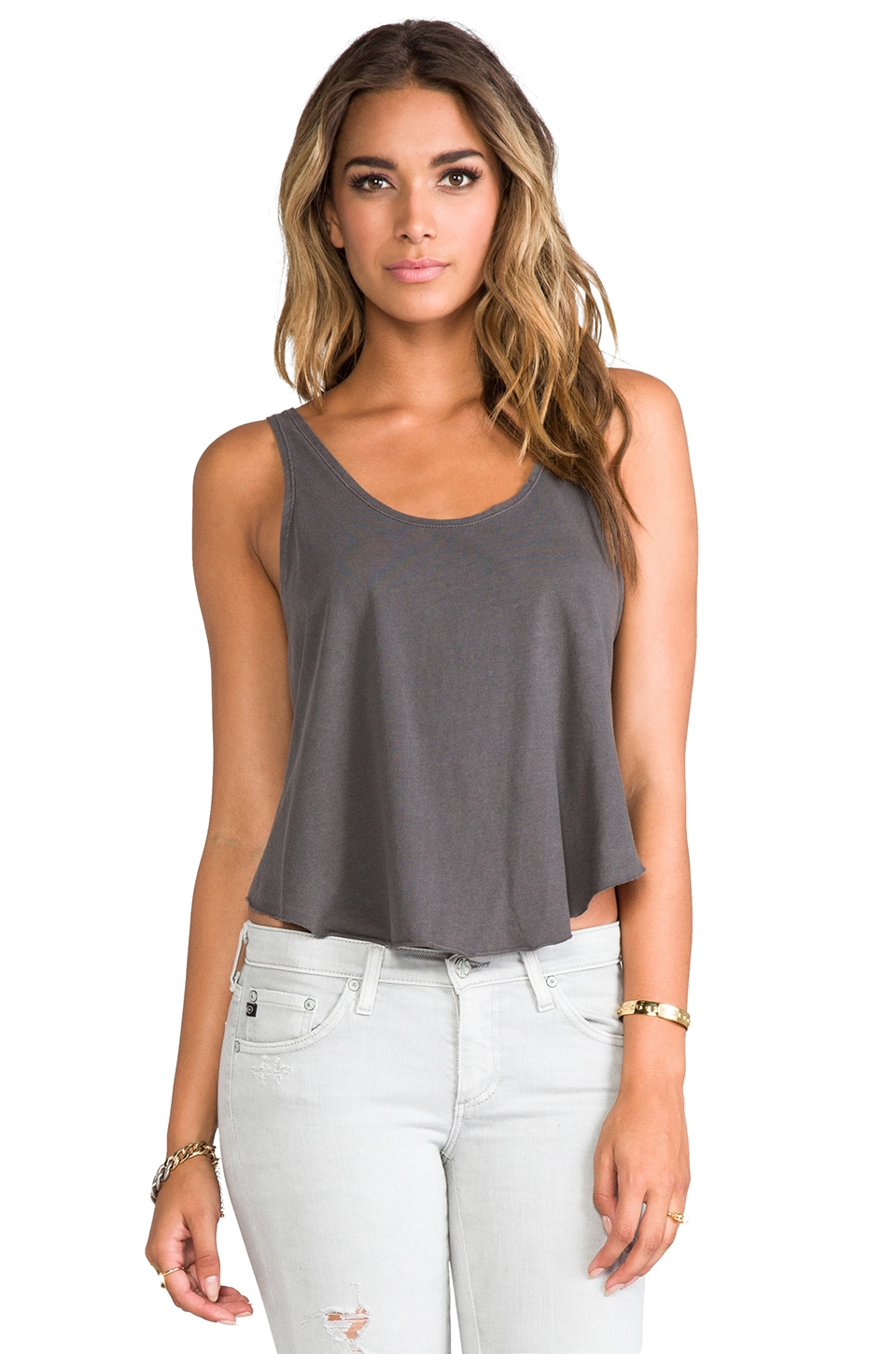 RVCA Label Drape Tank in Shale