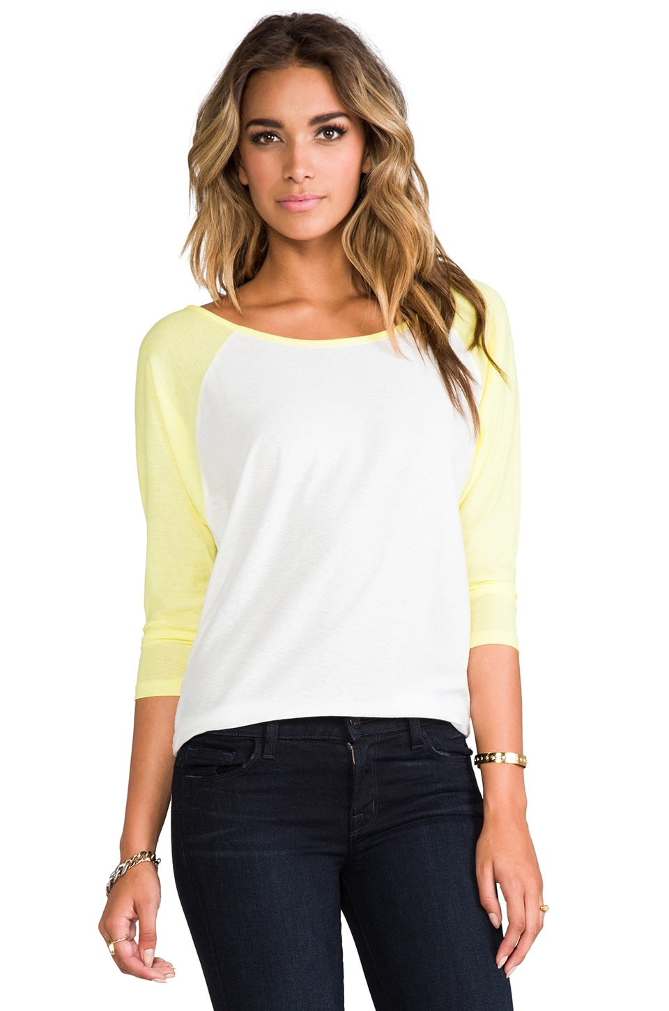 RVCA Label Ziggy Long Sleeve in Natural Lime Light