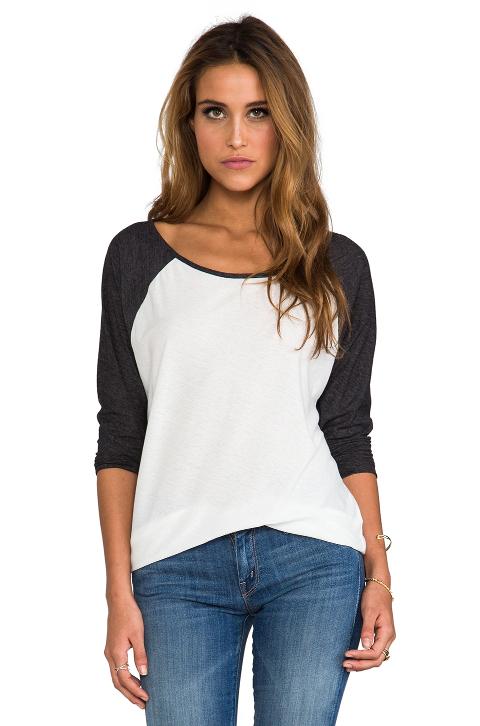 RVCA Label Ziggy Top in Natural/Black