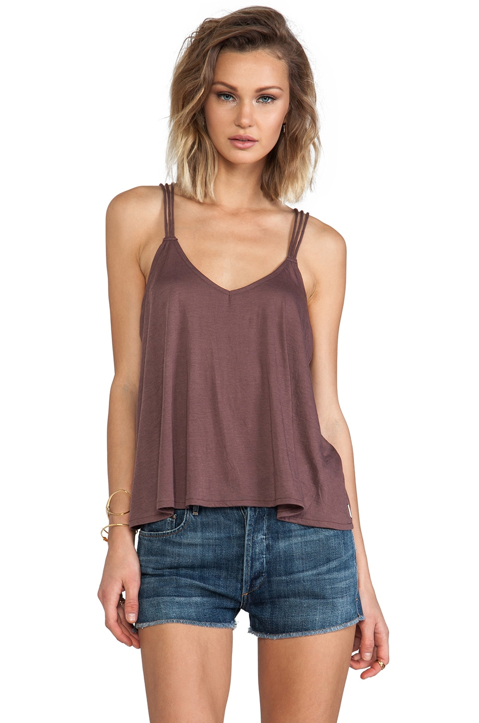 RVCA Kid Blue Tank in Muddy Plum