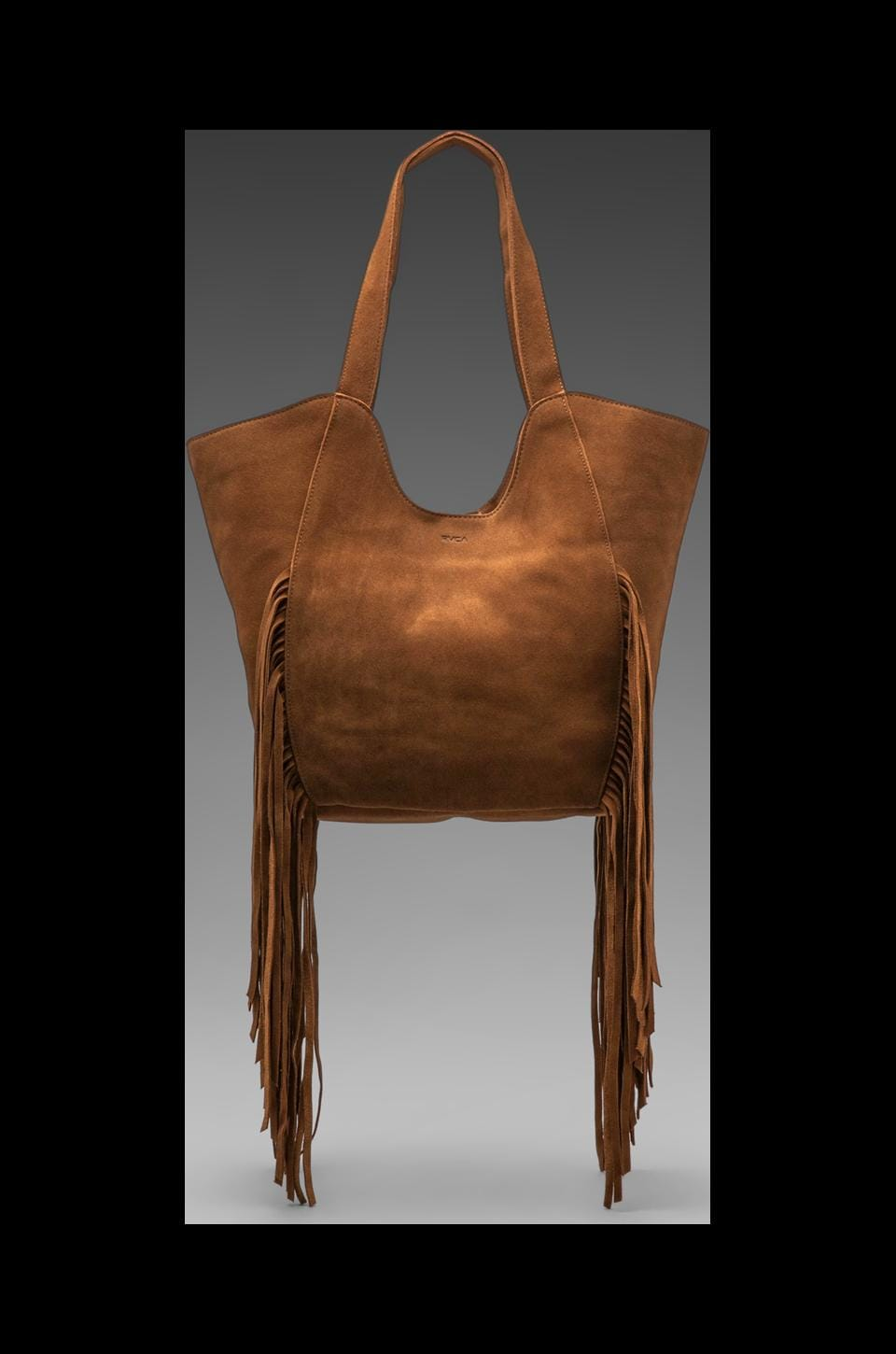 RVCA Ballesterros Suede Tote with Fringe in Tan