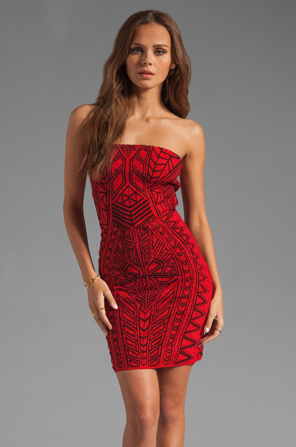 RVN Abstract Jacquard Strapless Dress in Black/Red Lurex