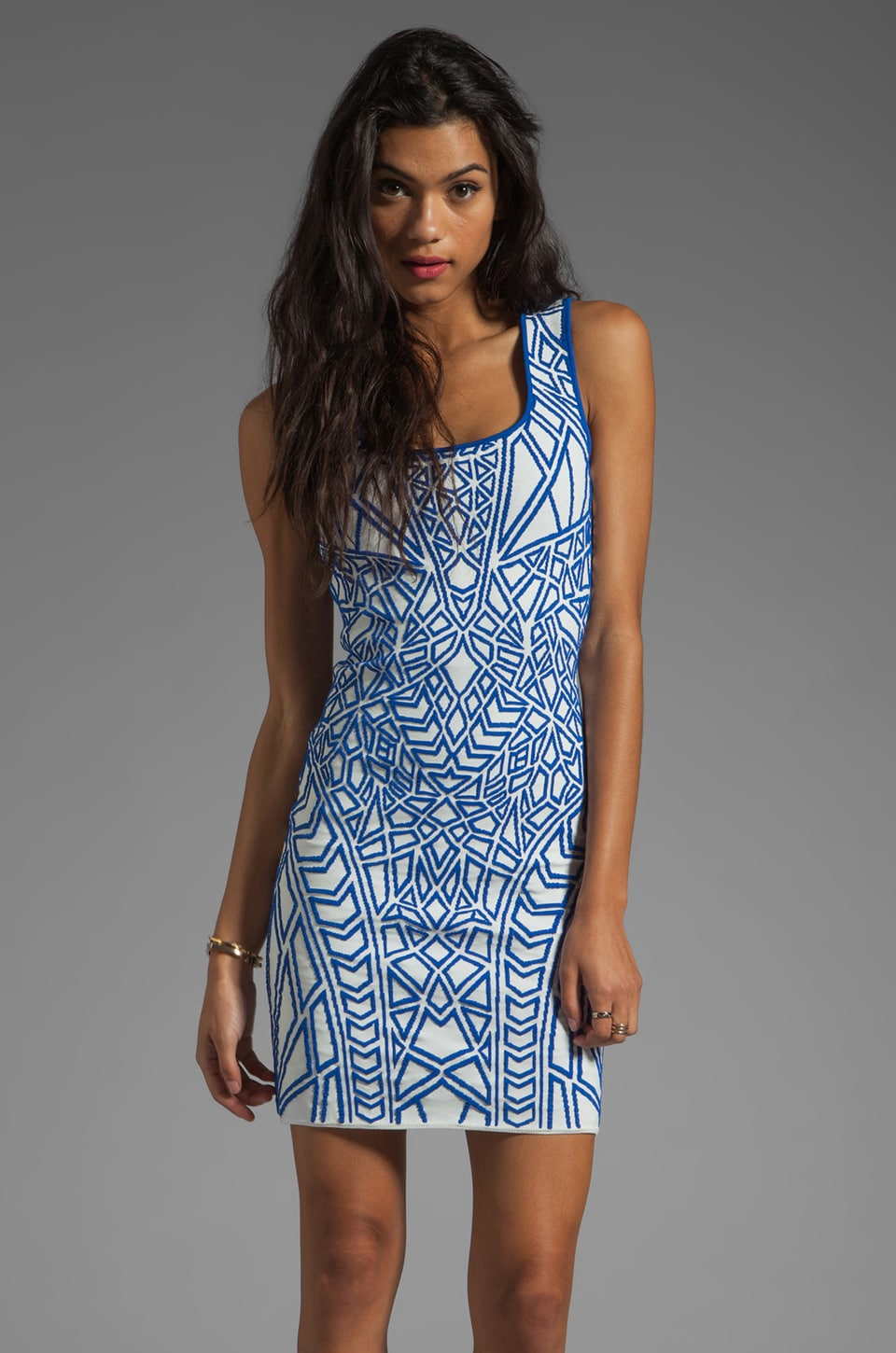 RVN Geo Signature Dress in Blue/White
