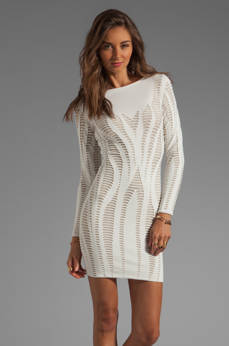 RVN Cutout Illusion Jacquard Long Sleeve Dress in White/Sand