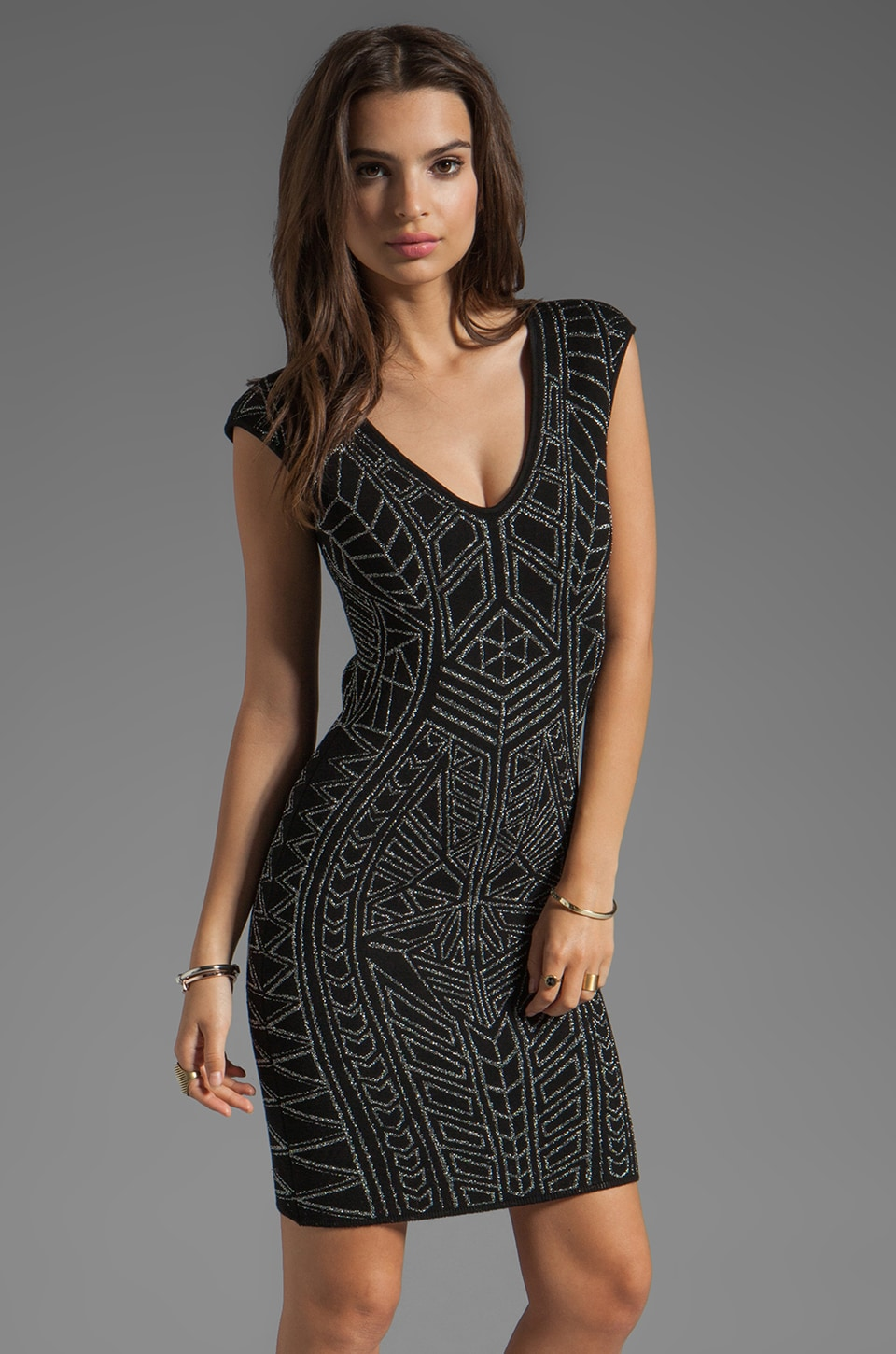 RVN Abstract Jacquard Mini Dress in Platinum/Black
