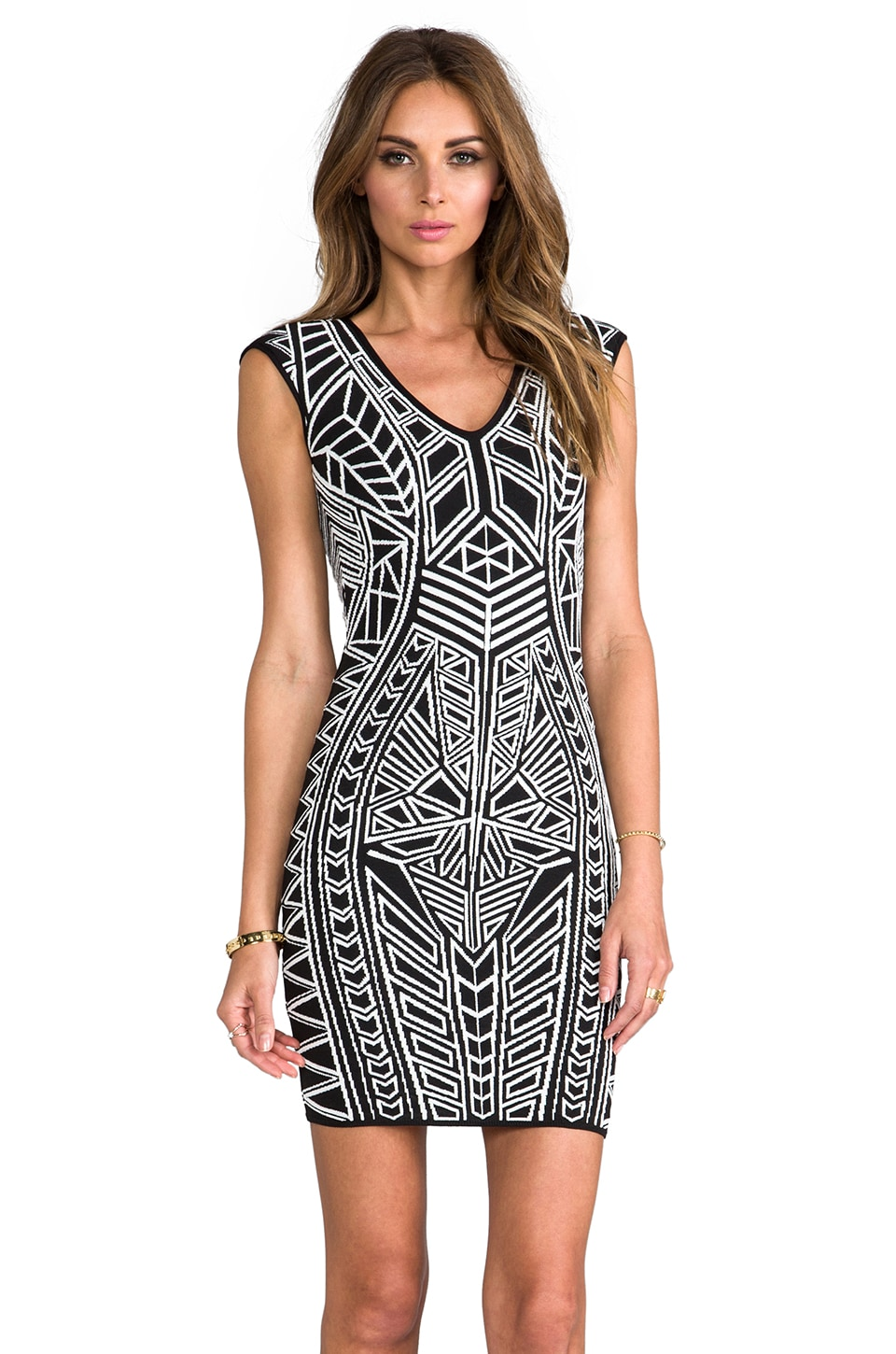 RVN Abstract 3D Jacquard Dress in White/Black