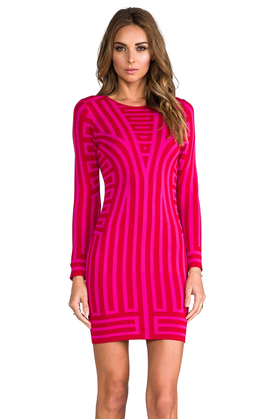 RVN Deco Stripe Long Sleeve Jacquard Dress in Fuchsia/Red