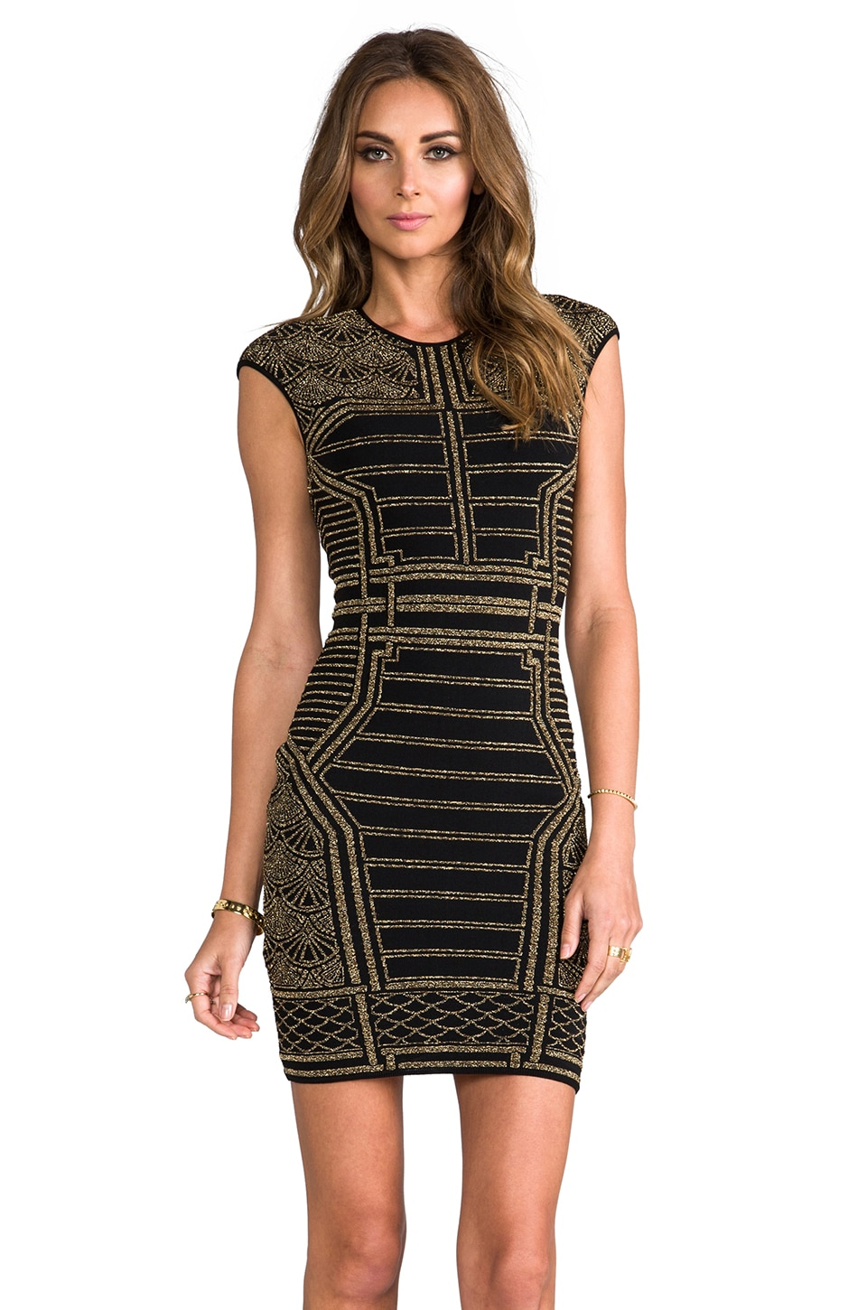 RVN Oriental 3D Lurex Jacquard Dress in Gold/Black