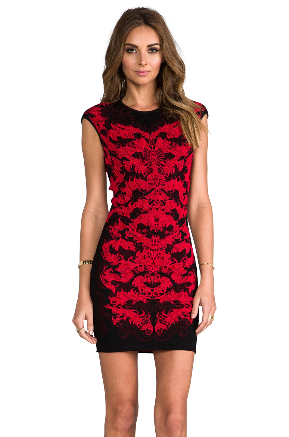 RVN Flame Lace Jacquard Seath Dress in Black/Red