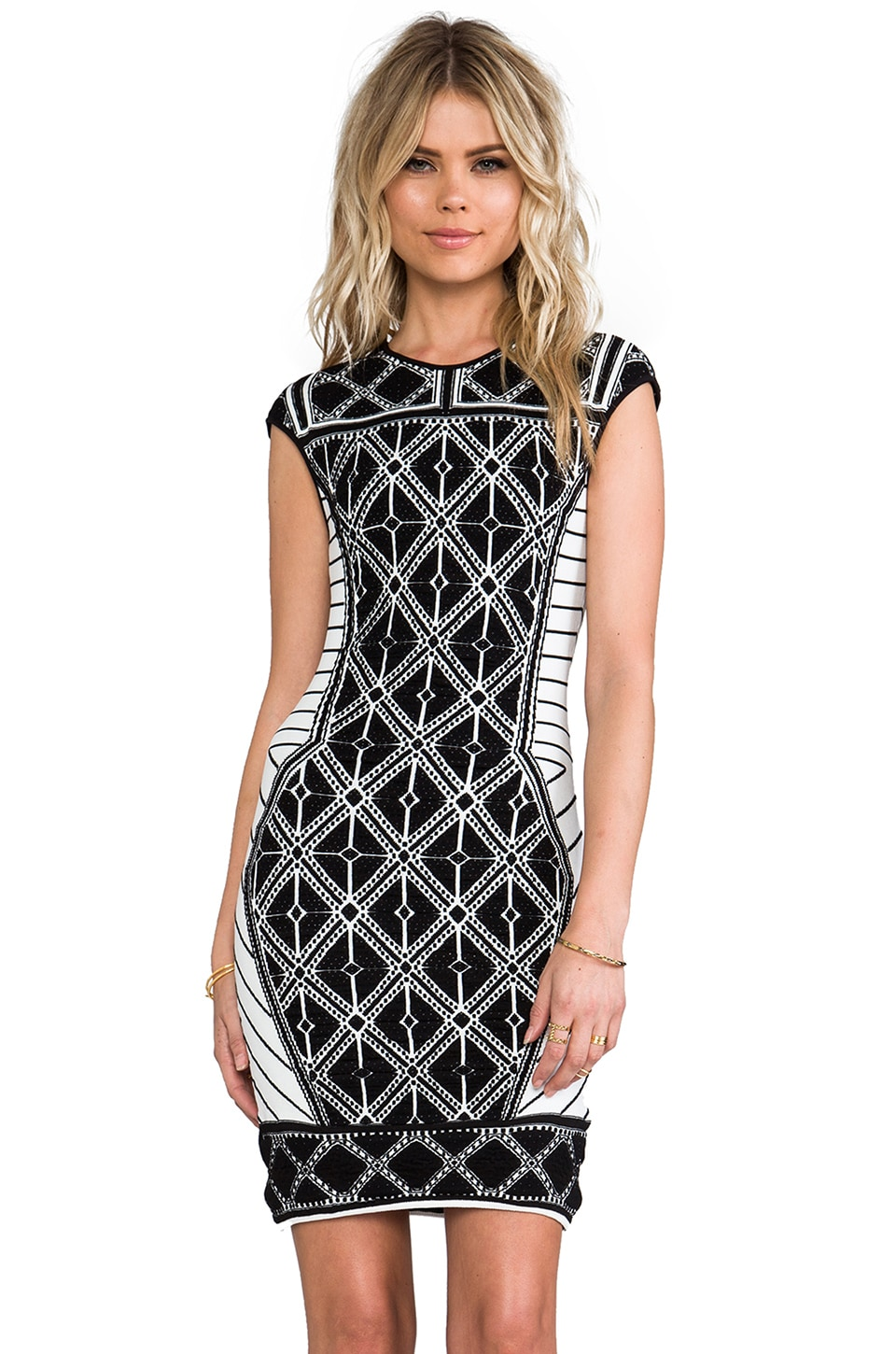 RVN Diamond 3D Jacquard Dress in Black & White