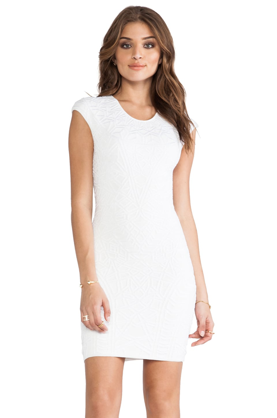 RVN Geo 3D Jacq Dress in White & White