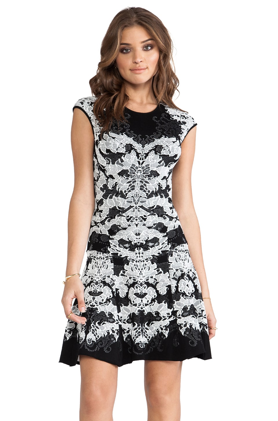 RVN Geo 3D Jacq Dress in Black & White