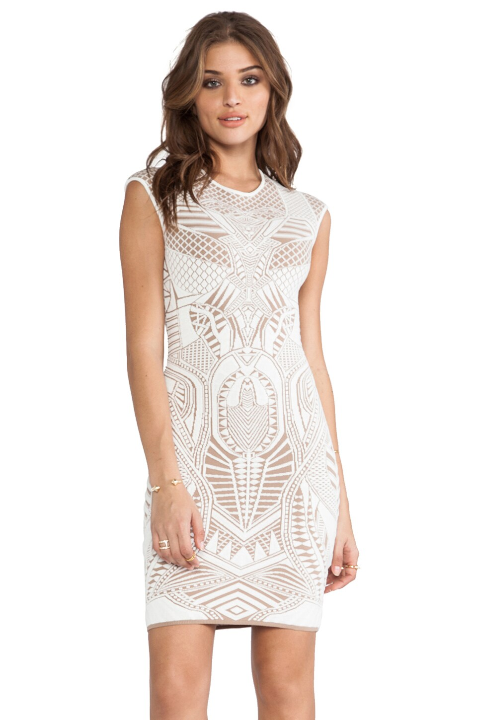RVN Armor 3D Jacq Dress in White & Nude