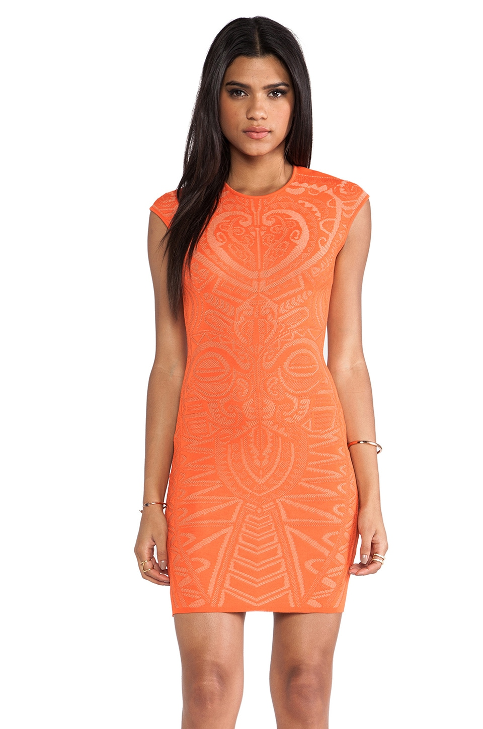 RVN Mayan Lace Jacq Dress in Tangerine & Nude