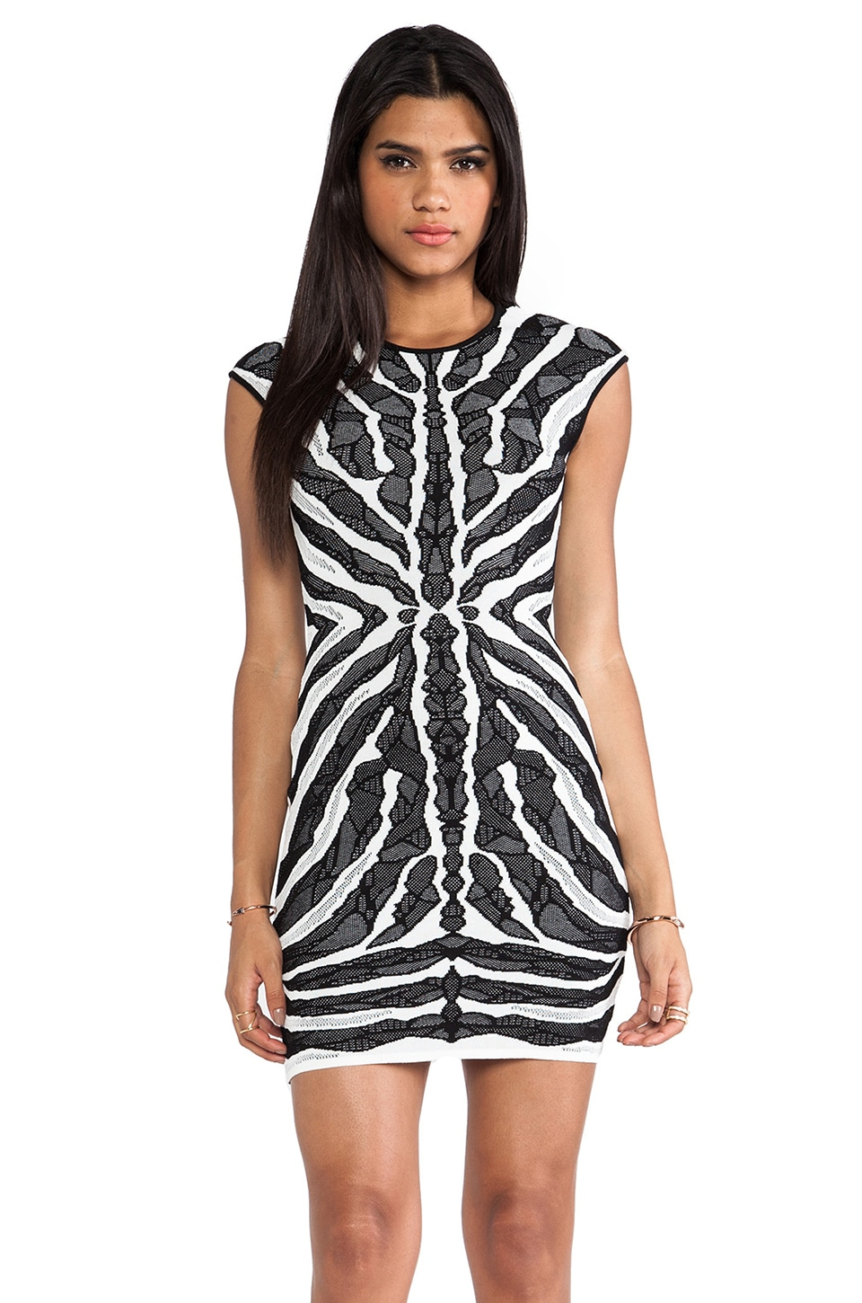 RVN Bengal Lace Jaq Dress in White & Black