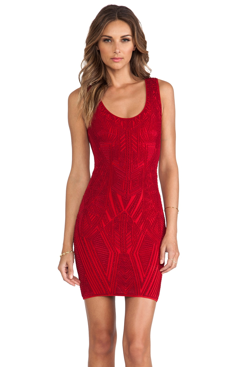 RVN Aztec Jacquard Tank Dress in Red & Red