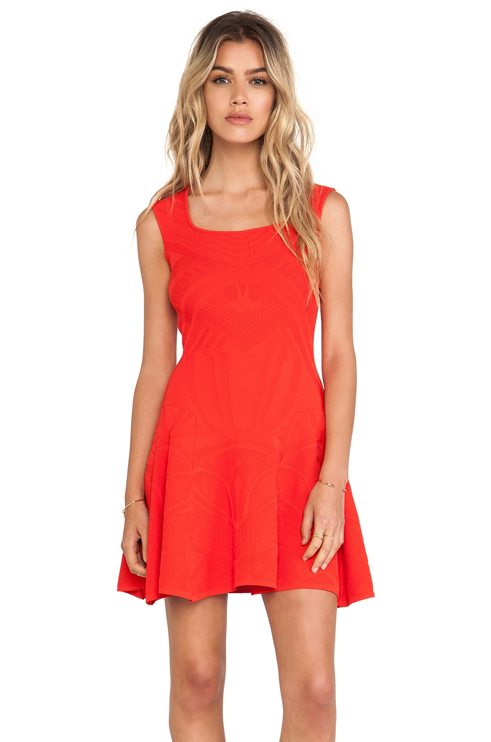 RVN Tribal Pointelle Dress in Coral