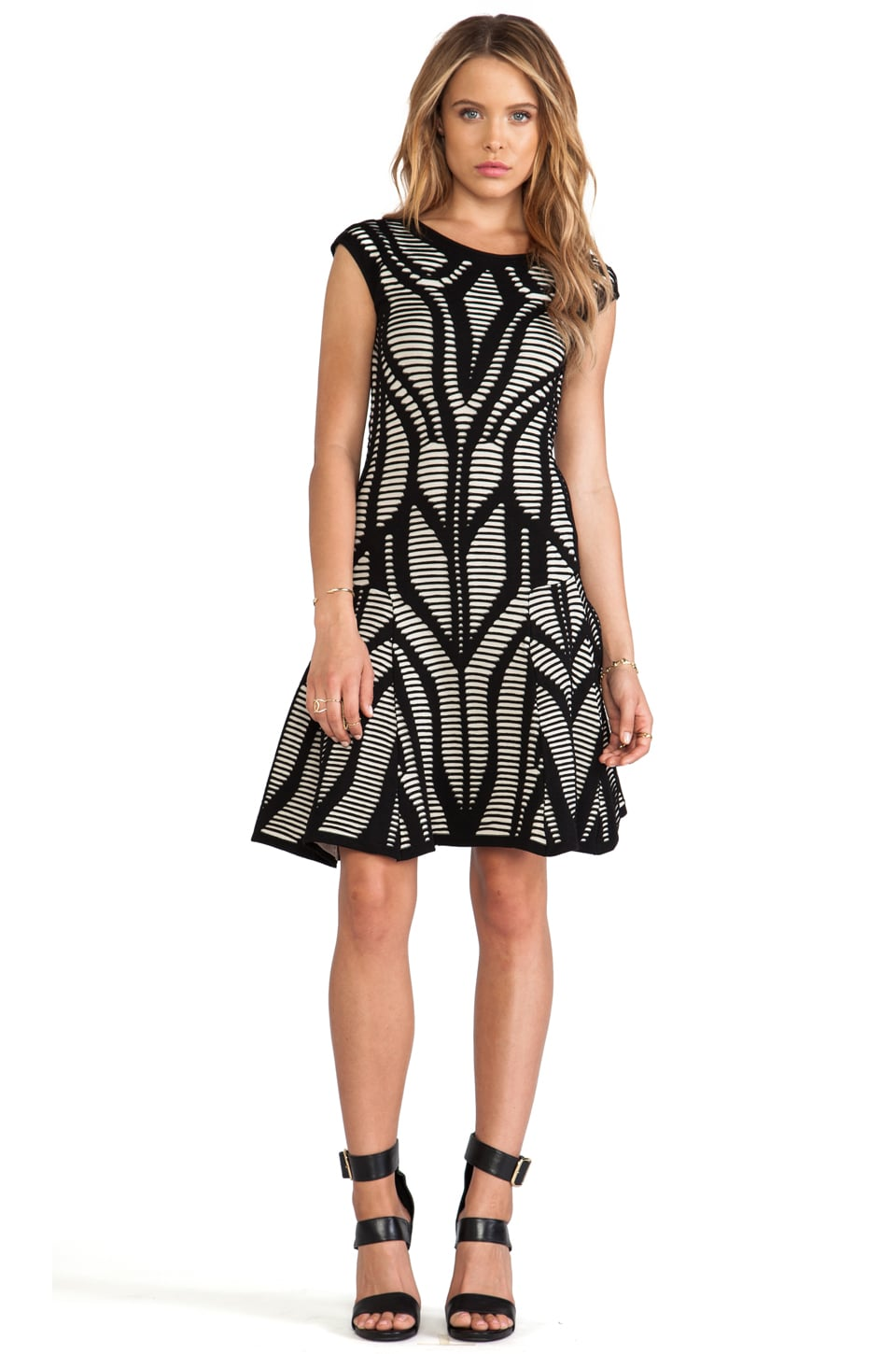 RVN Congo Cutout Illusion Dress in Black & Sand
