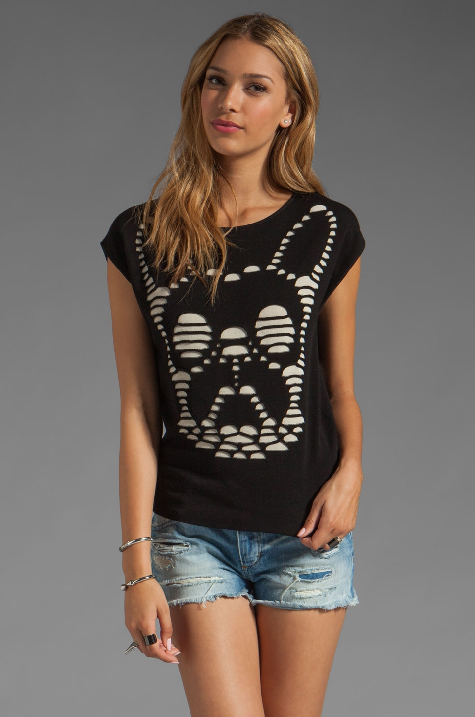 RVN Cutout Illusion Frenchy Pullover in Black/Sand