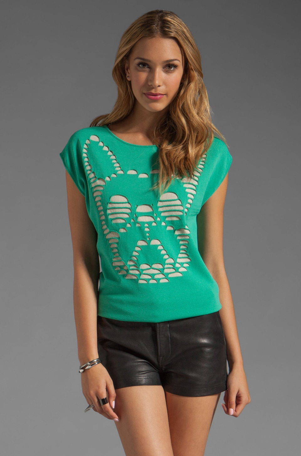 RVN Cutout Illusion Frenchy Pullover in Pastel Green/Sand