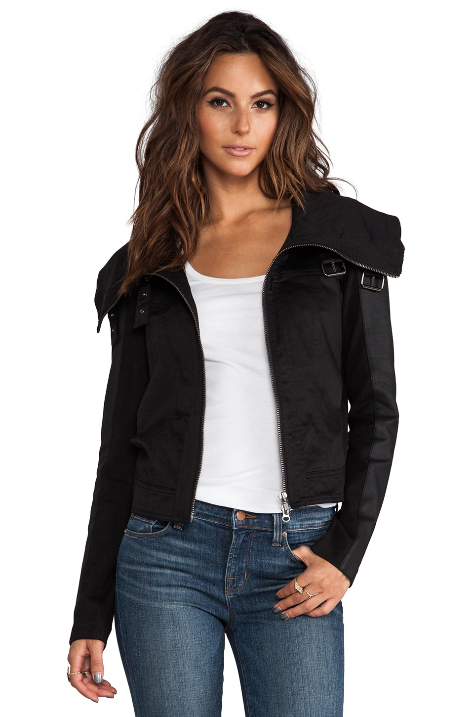 RVN Faux Leather Sleeve Jean Jacket