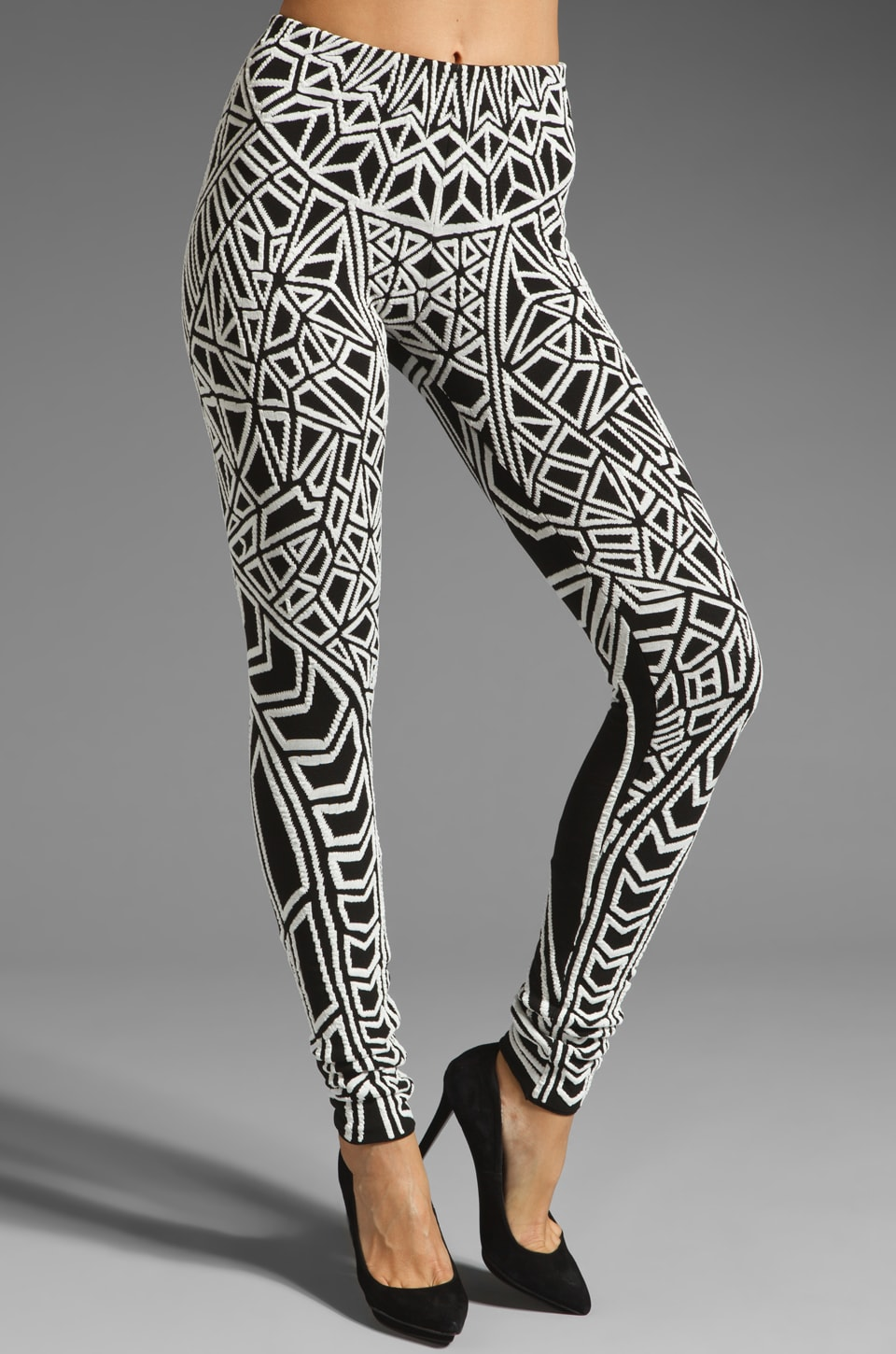 RVN Geo Jacquard Textured Leggings in Black/White
