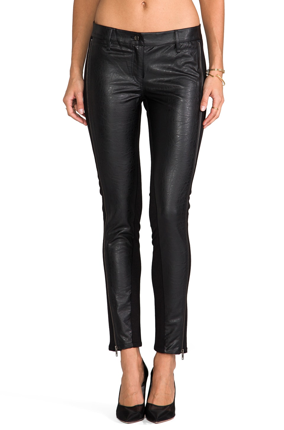 RVN Faux Textured Leather Zipper Leggings in Black