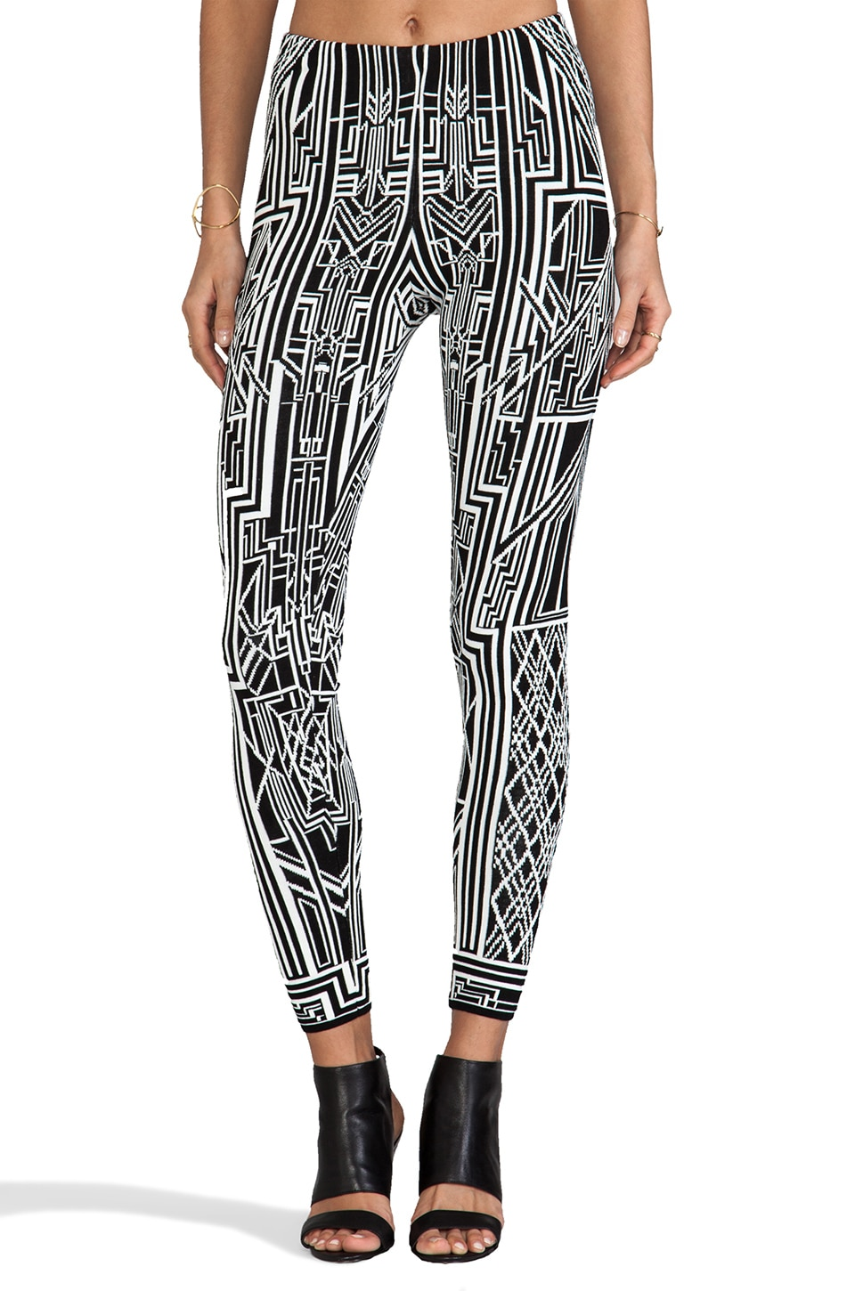 RVN Tron Flat Jacquard Pants in White & Black