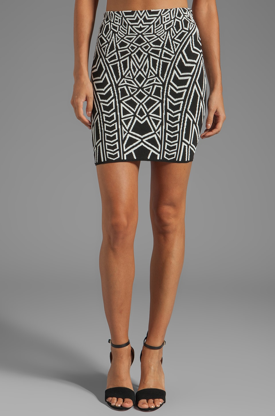 RVN Geo Jacquard Mini Skirt in White/Black