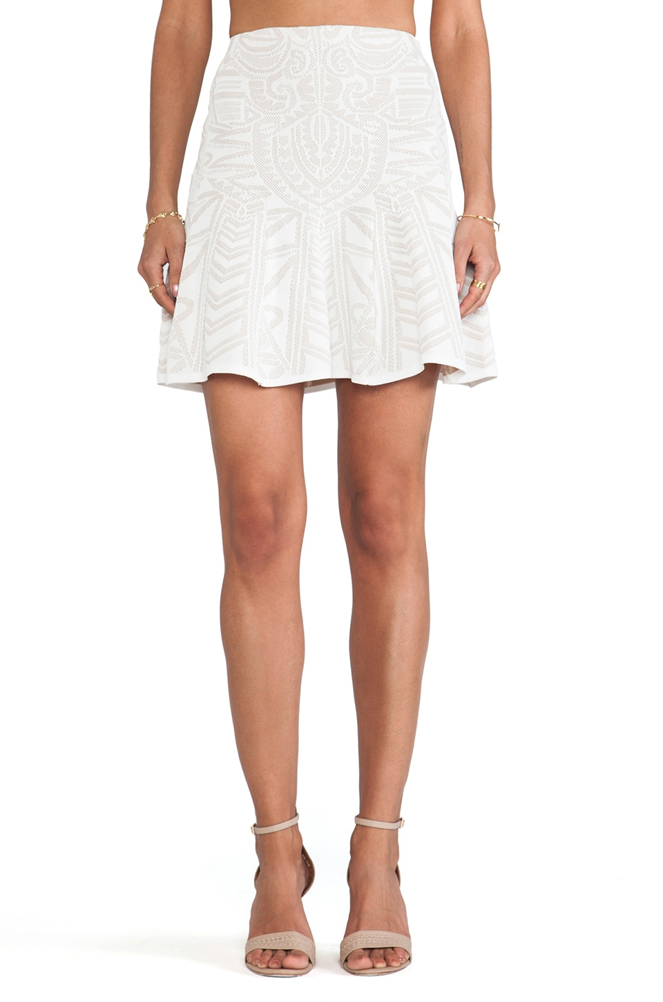 RVN Mayan Lace Jacq Skirt in White & Nude