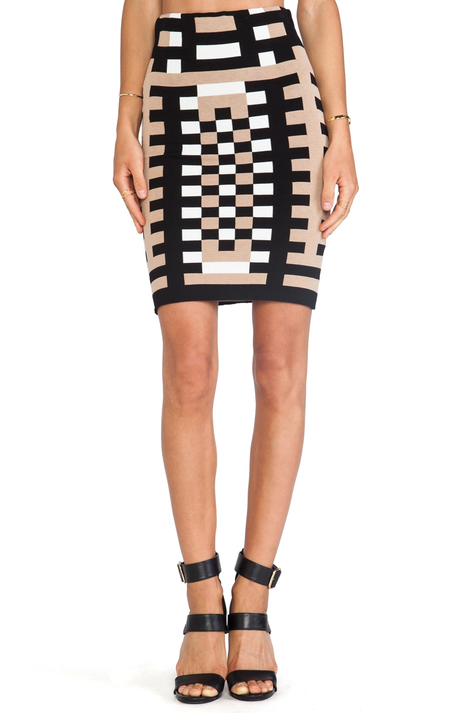 RVN Mondrian Jacquard 3/4 Length Sheath Skirt in Tan& Black & White