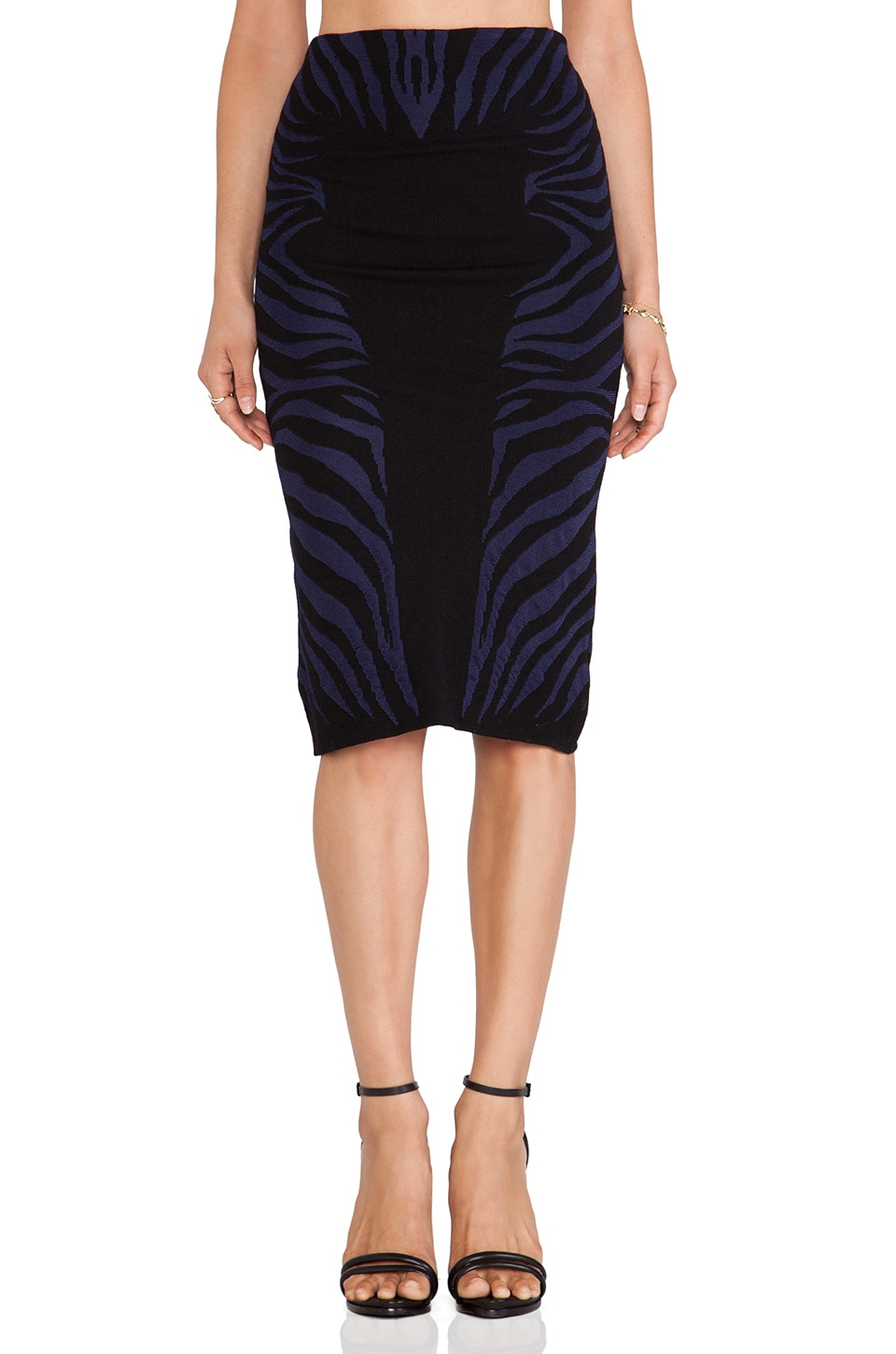 RVN Zebra Textured Jacquard Midi Skirt in Black & Navy