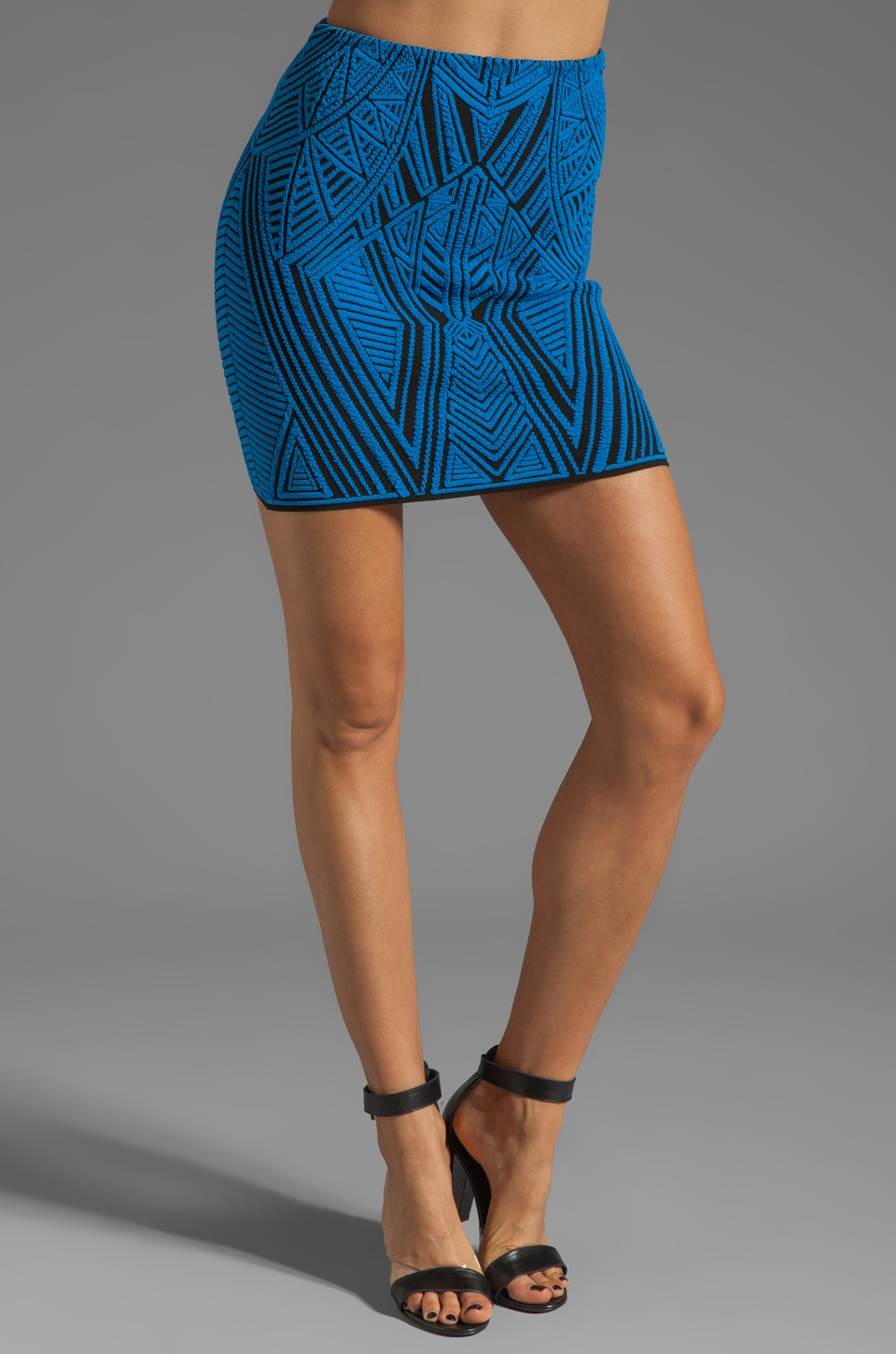 RVN Aztec Jacquard Skirt in Blue/Black