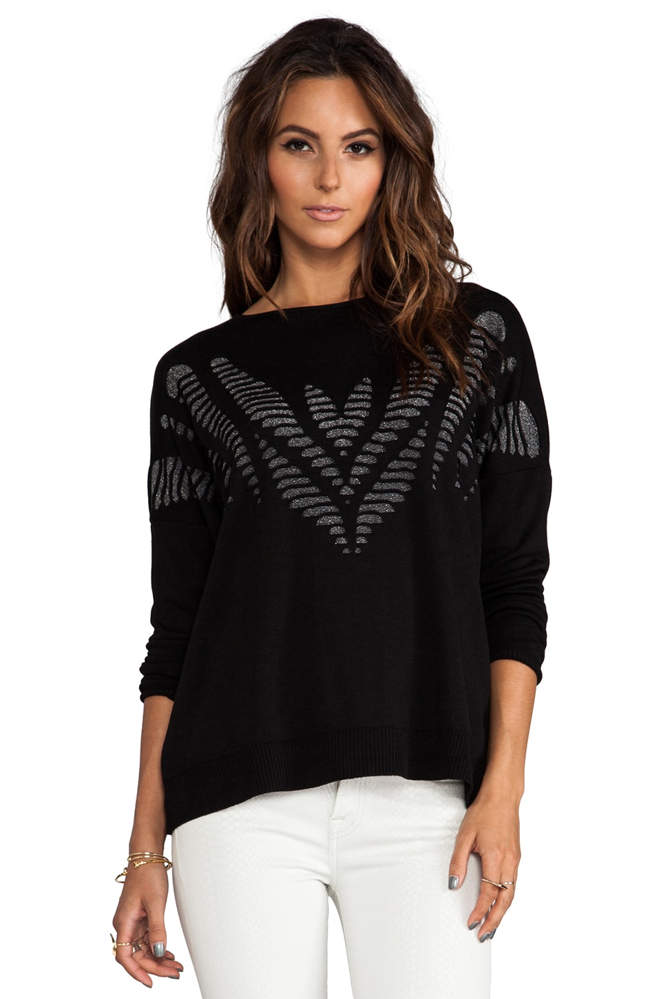 RVN Cutout Illusion Sporty Top in Platinum/Black