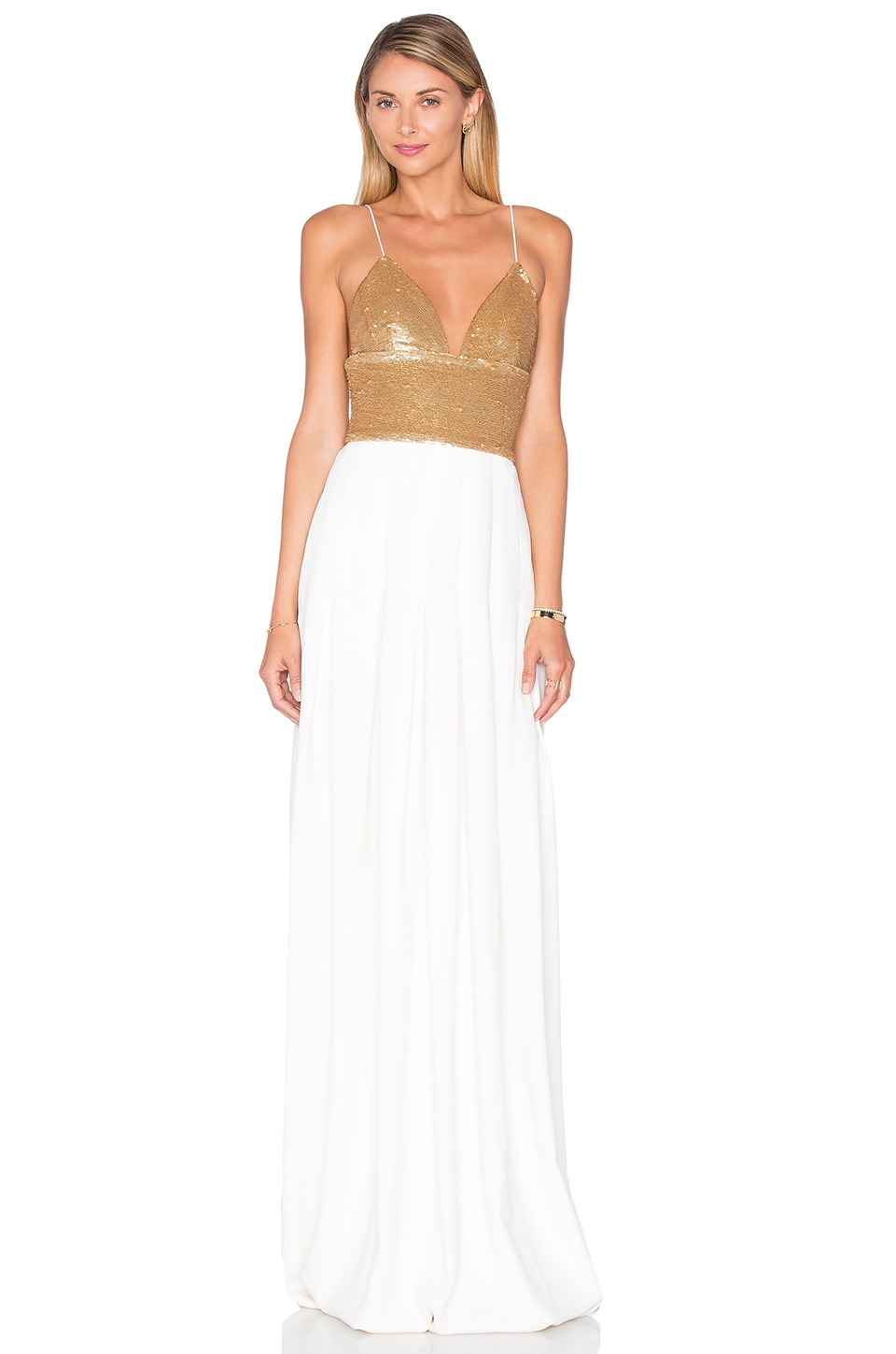 RACHEL ZOE Emerson Maxi Dress in Gold & Ecru