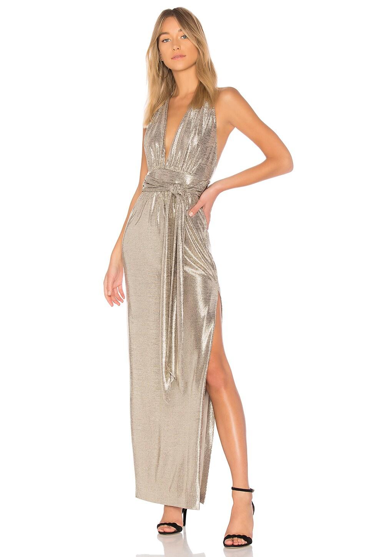 RACHEL ZOE X REVOLVE Metallic Halter Gown in Gold   REVOLVE