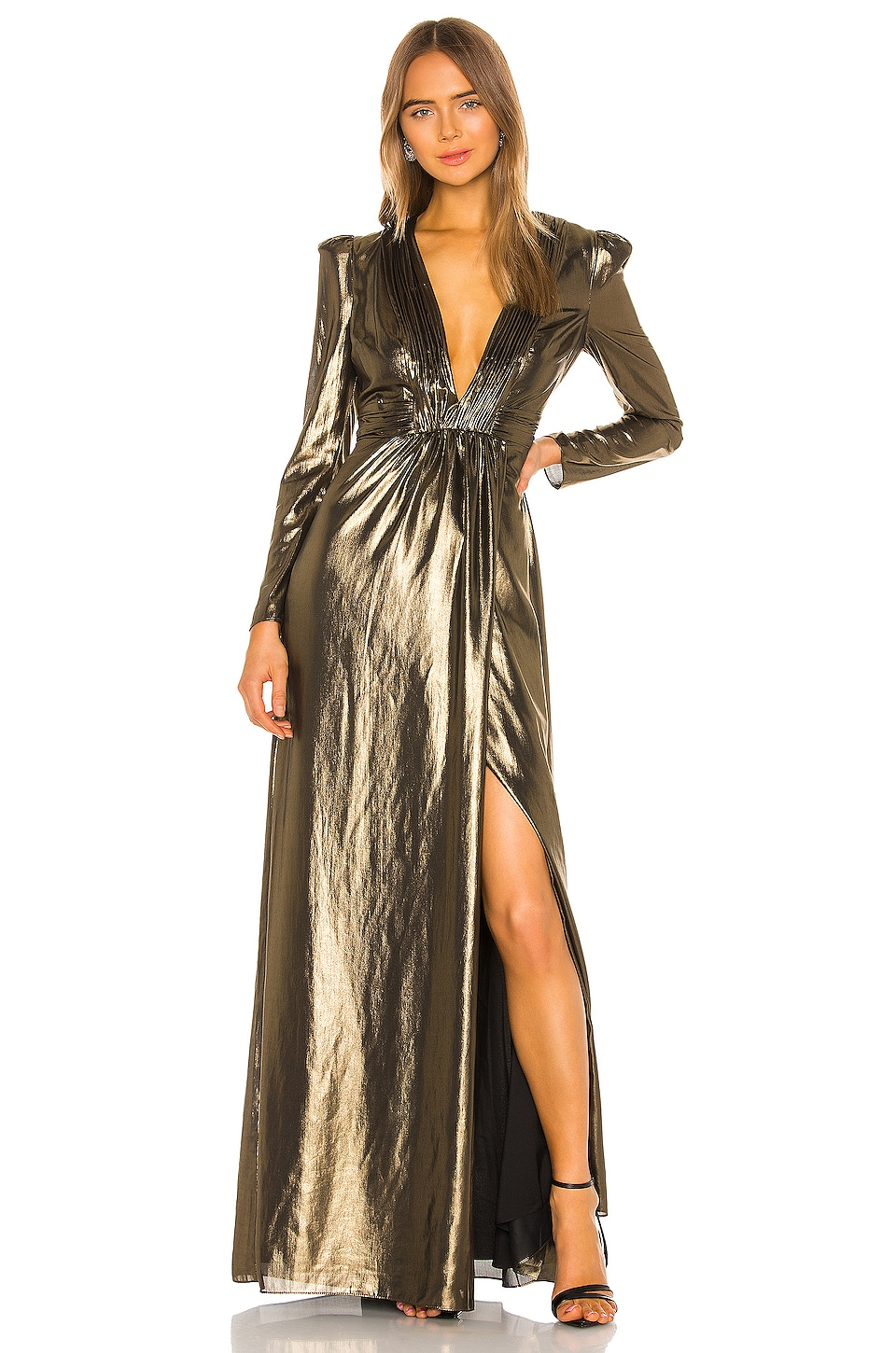 RACHEL ZOE Rosalee Dress in Gold Foiled