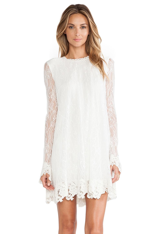 RACHEL ZOE Serafina Lace Babydoll Dress in Winter White | REVOLVE