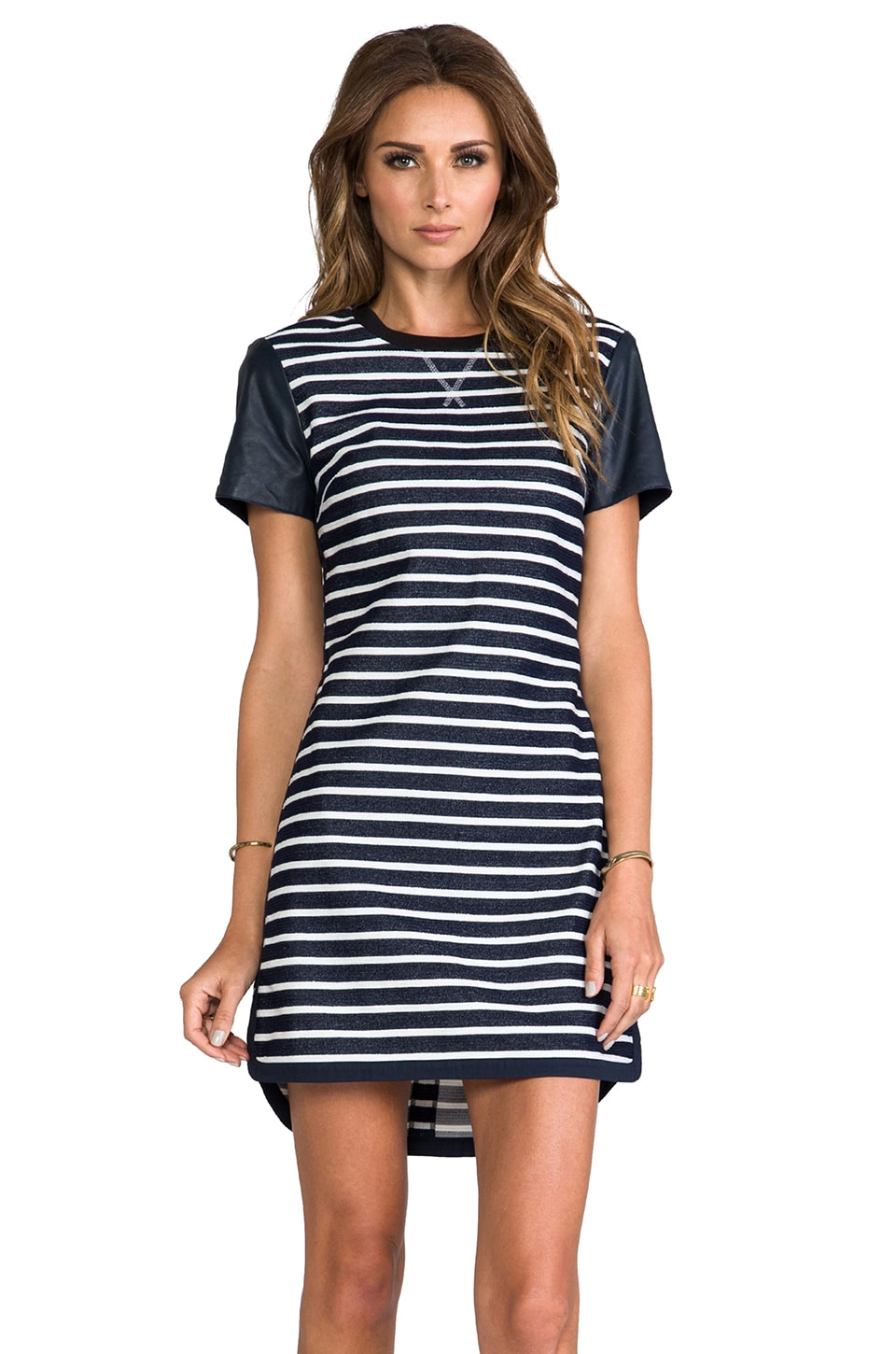 RACHEL ZOE Warren Striped Dress in Admiral/White