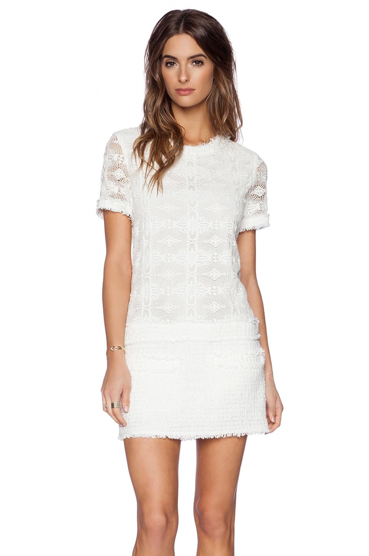 RACHEL ZOE Ginger Drop Waist Dress in White & Optic White