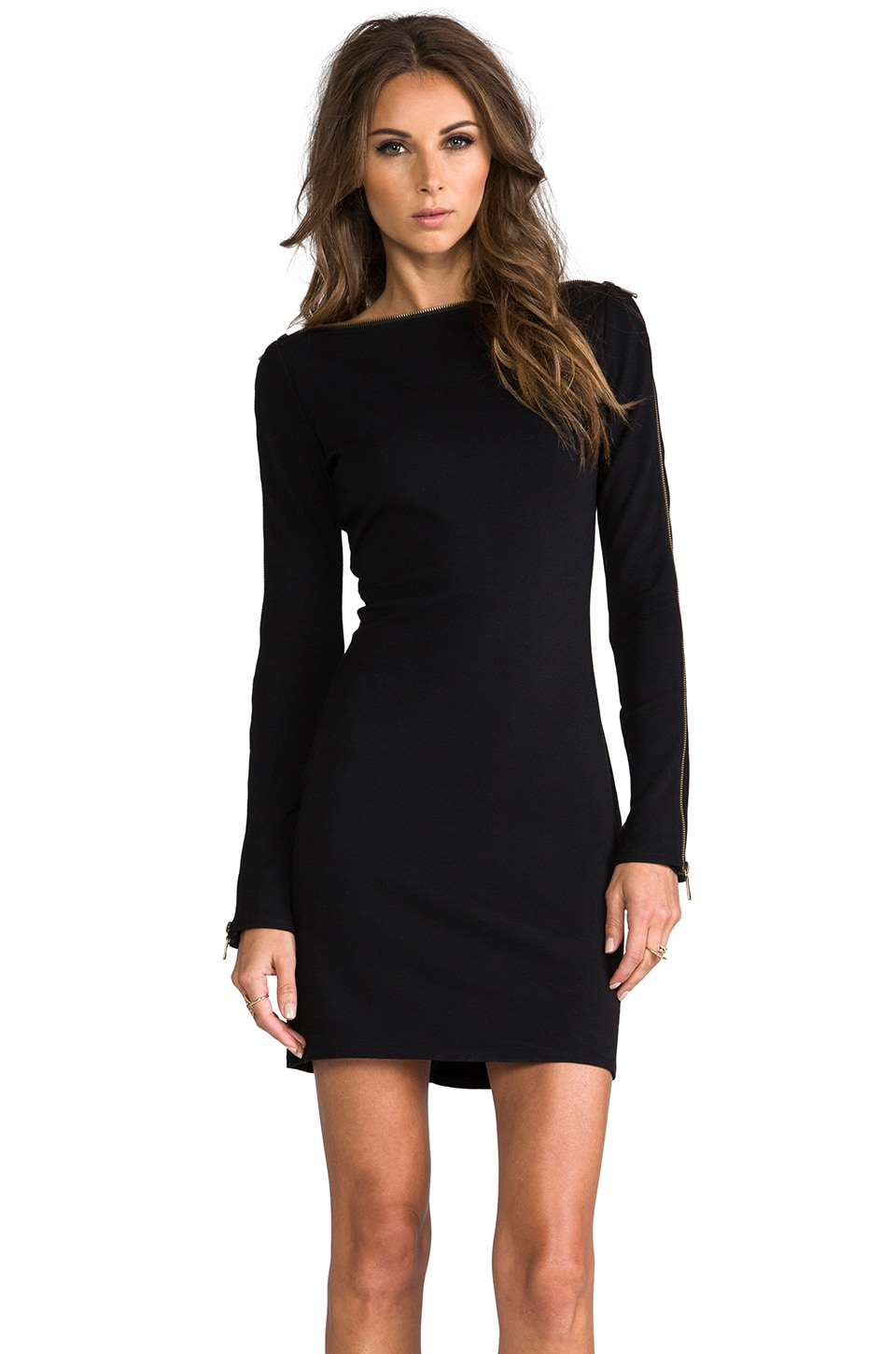 RACHEL ZOE Pearson Zipper Dress in Black