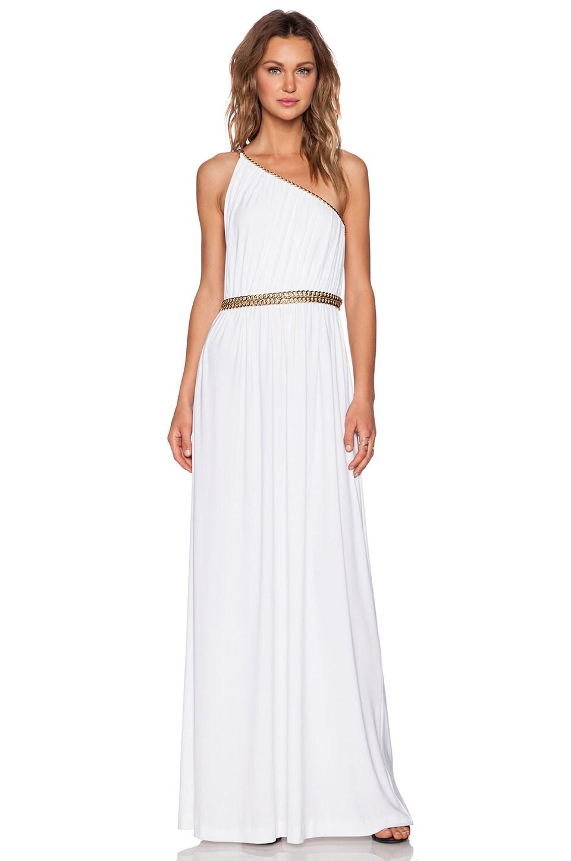 RACHEL ZOE Lillith Shirred Toga Maxi Dress in White