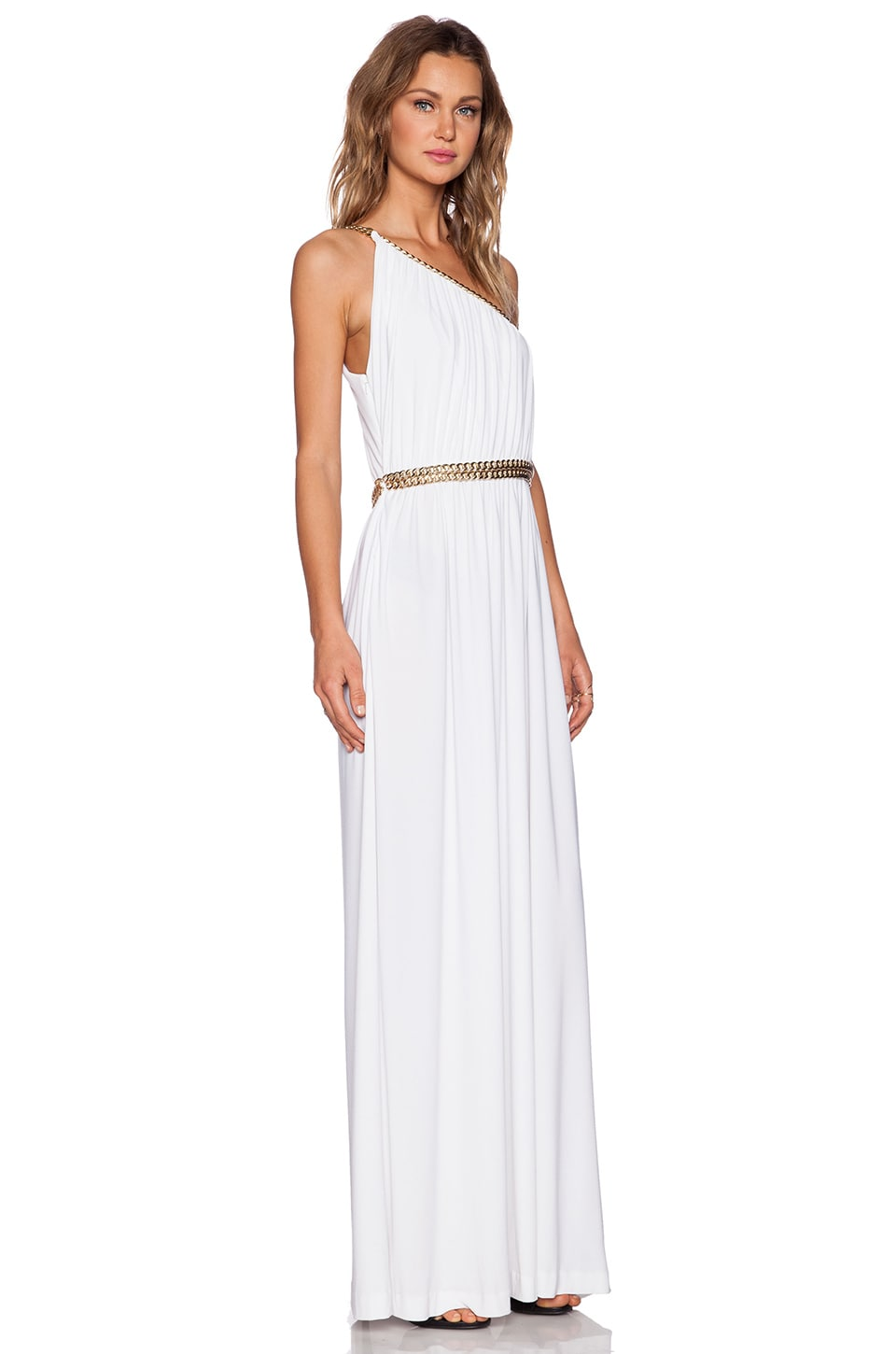 RACHEL ZOE Lillith Shirred Toga Maxi Dress in White - REVOLVE