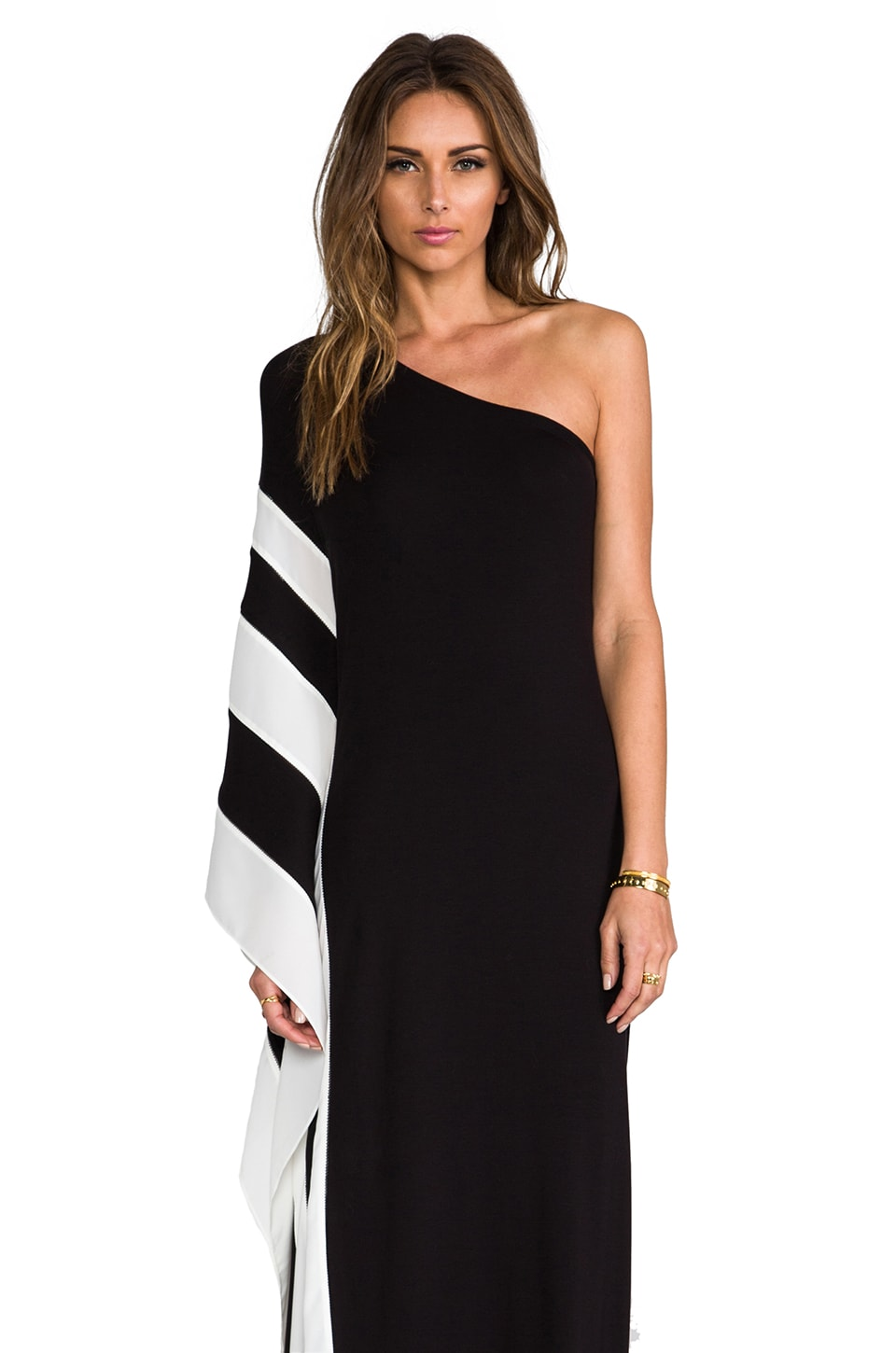 Rachel Zoe Azur One Shoulder Maxi Dress in Black & White