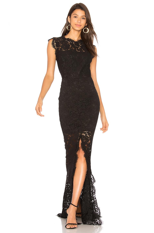 RACHEL ZOE Estelle Cut Out Back Maxi Dress in Black