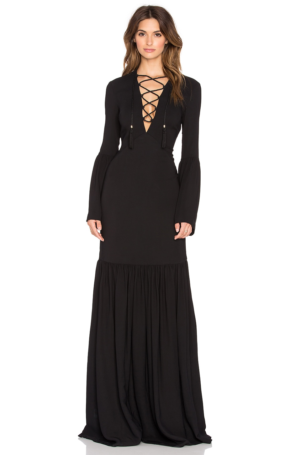 RACHEL ZOE Pax Lace Up Gown in Black