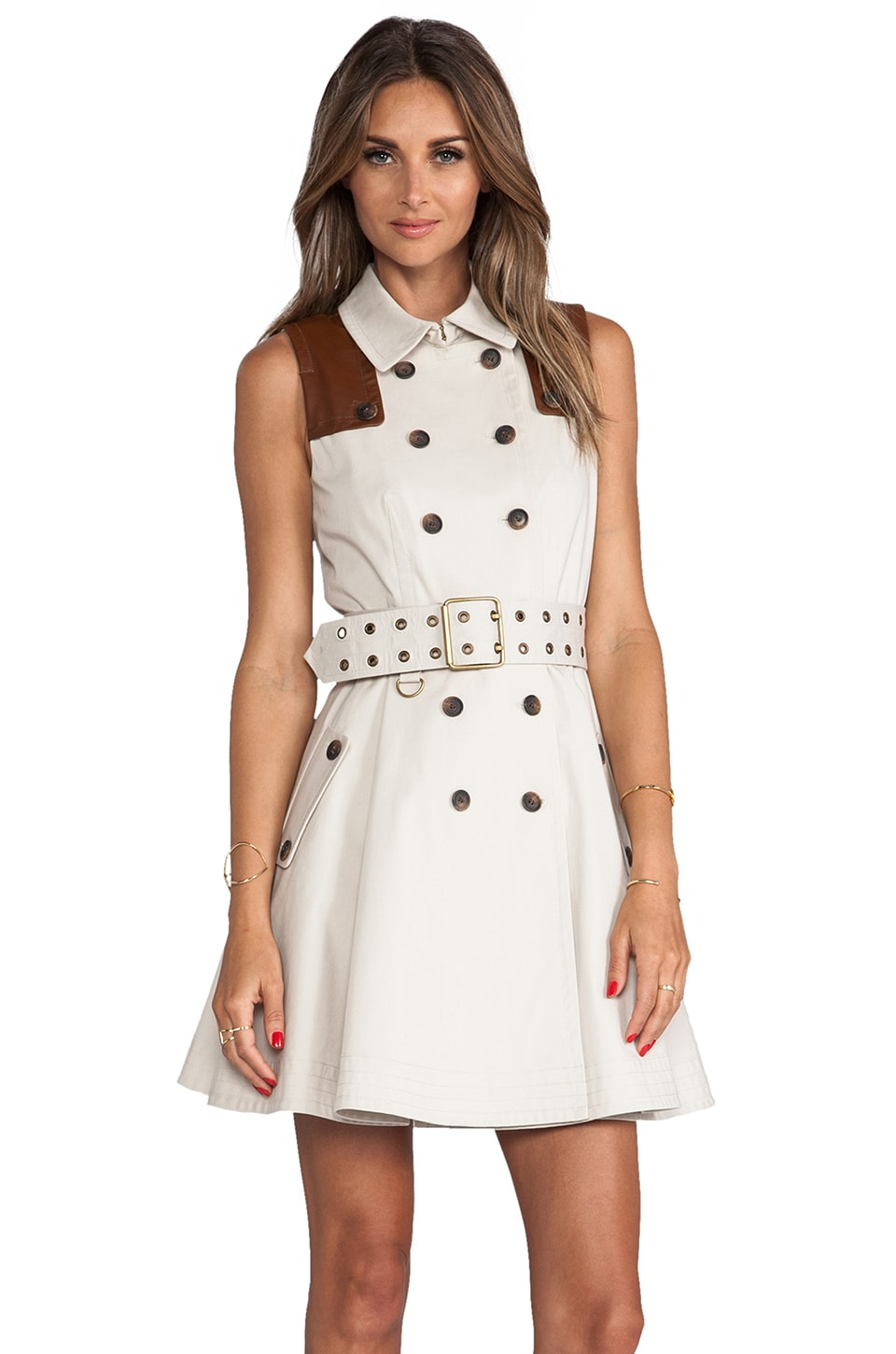 RACHEL ZOE Gable Sleeveless Trench Dress in Khaki & Carmel
